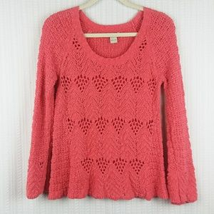 Lucky Brand | Coral Open Stitch Sweater Size Large